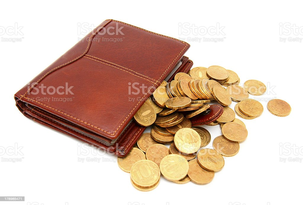 Purses and gold coins. On a white background. royalty-free stock photo