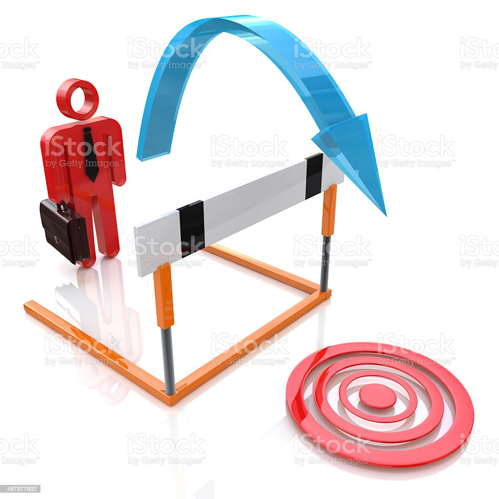 Pursuit of goal. Businessman jumping over a obstacle stock photo