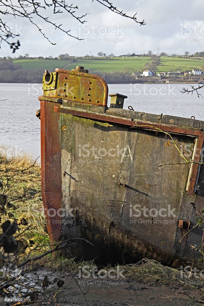 Purton flood protection on the banks of the Severn UK stock photo