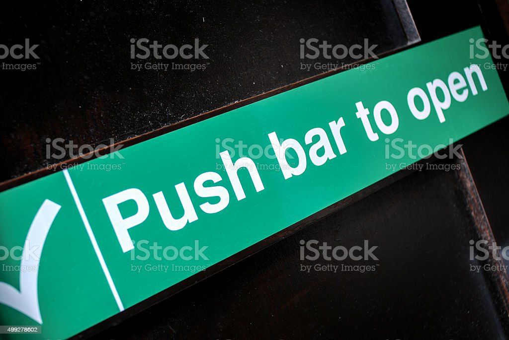 Push bar to open - Fire Exit stock photo