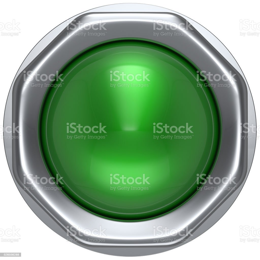 Push button green indicator activate ignition detector lamp stock photo