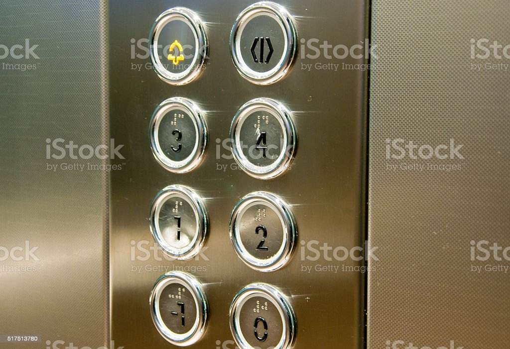 push button inside the lift stock photo