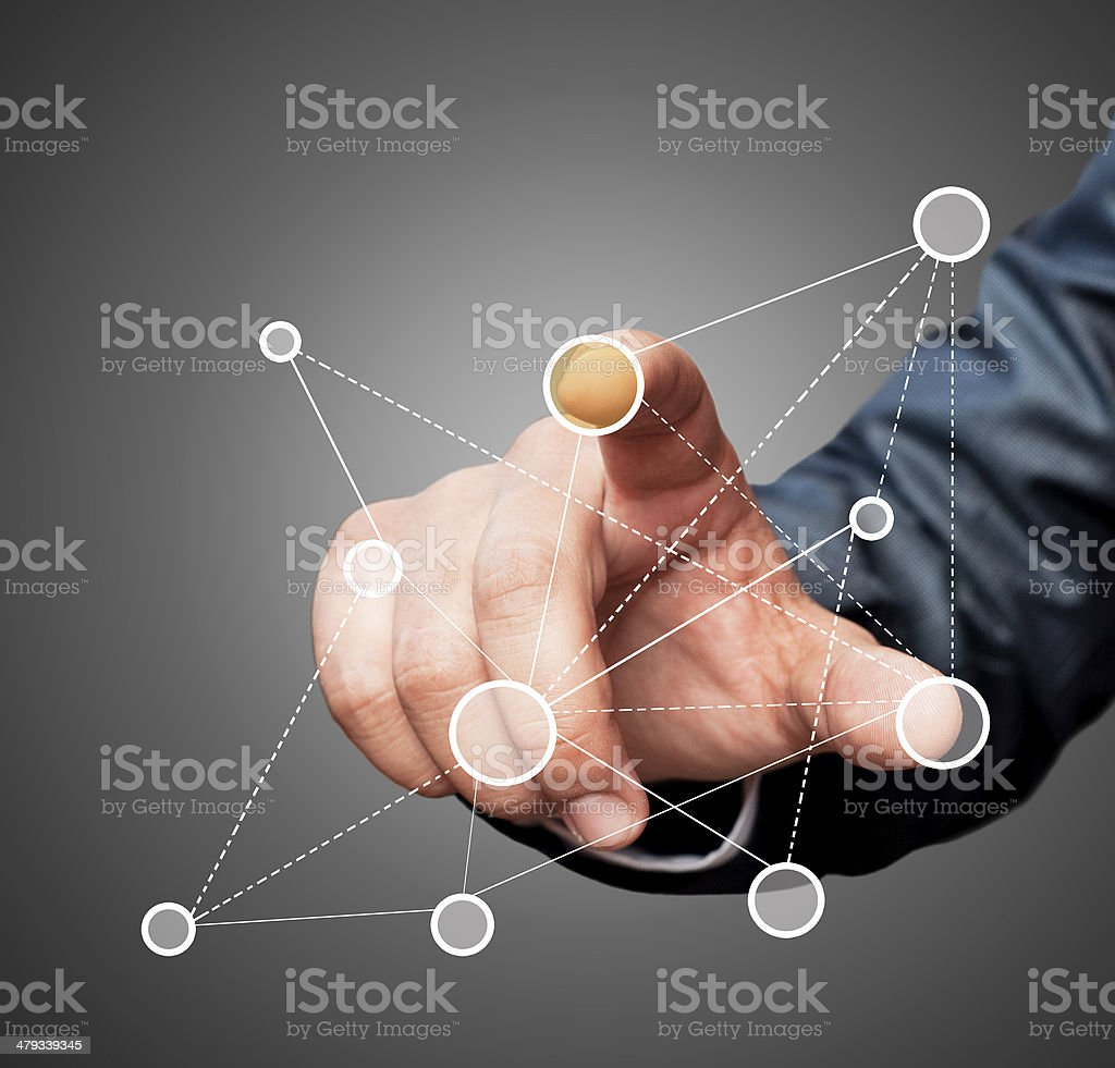 Push button on a touch screen interface stock photo