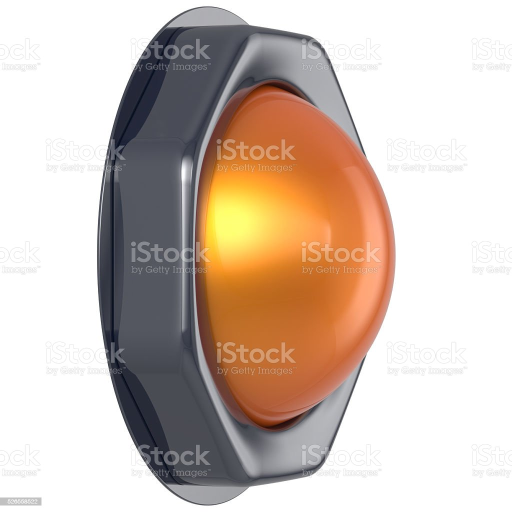 Push button orange start turn off action activate switch power stock photo