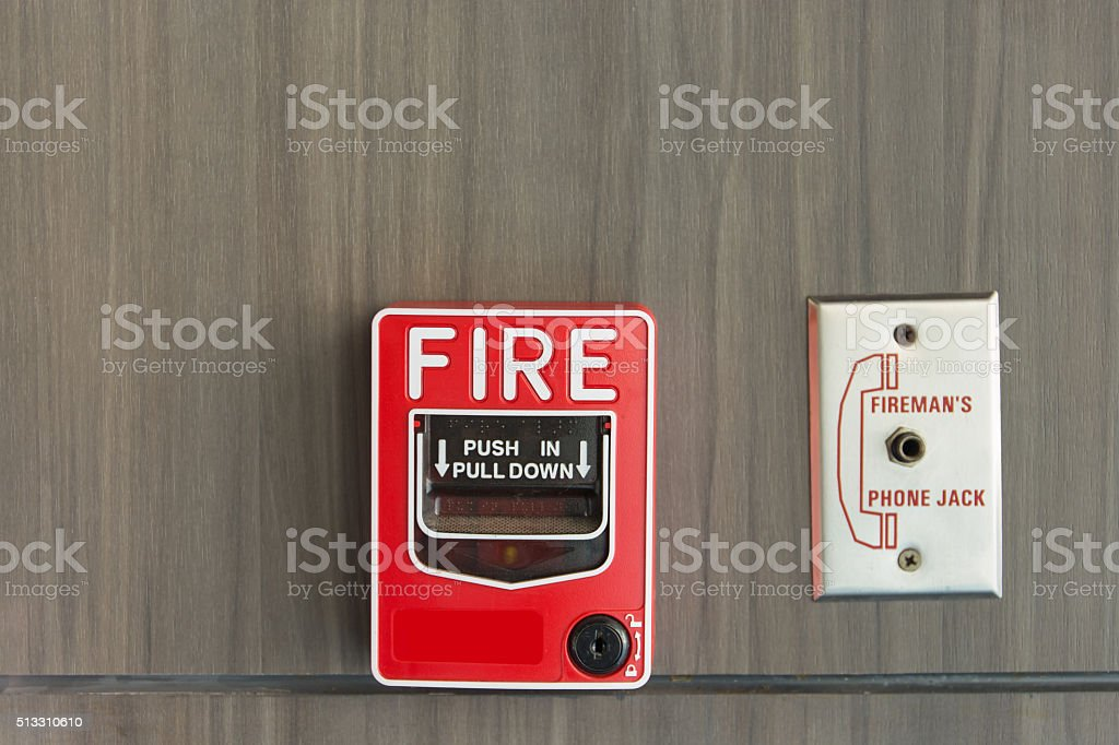 Push button switch fire stock photo