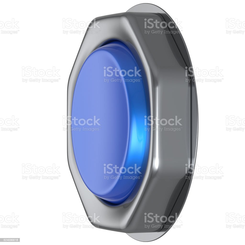Push down button blue start turn on action activate switch stock photo