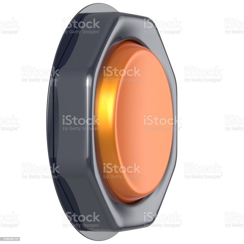 Push down button orange start turn on action activate switch stock photo