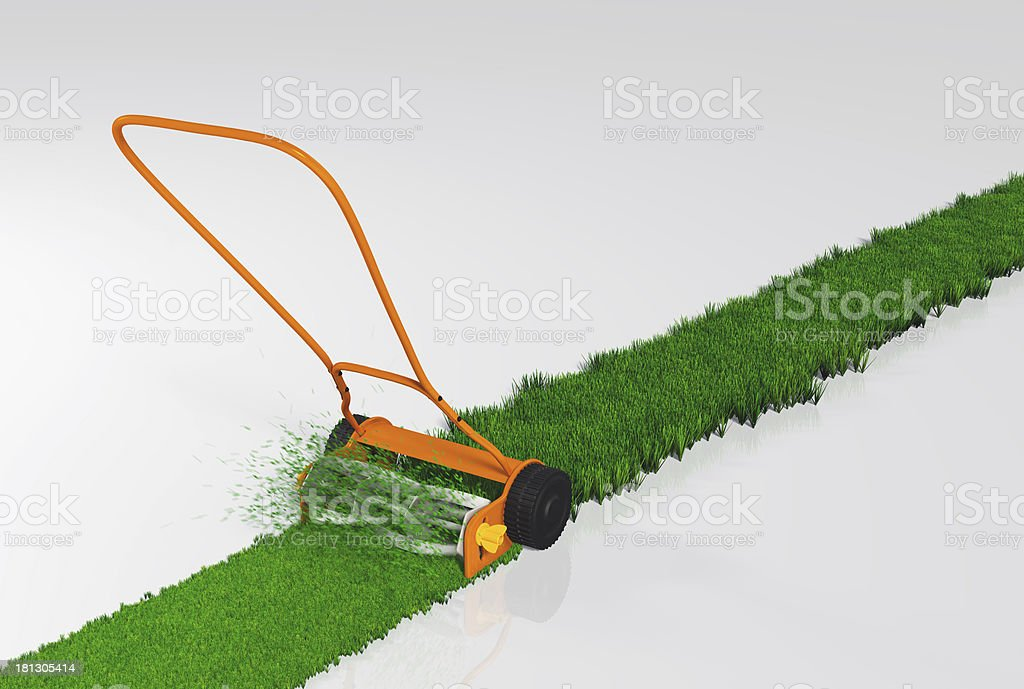 push lawn mower is working royalty-free stock photo