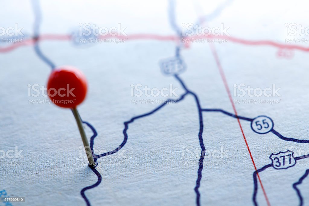 Push Pin On A Road Map stock photo