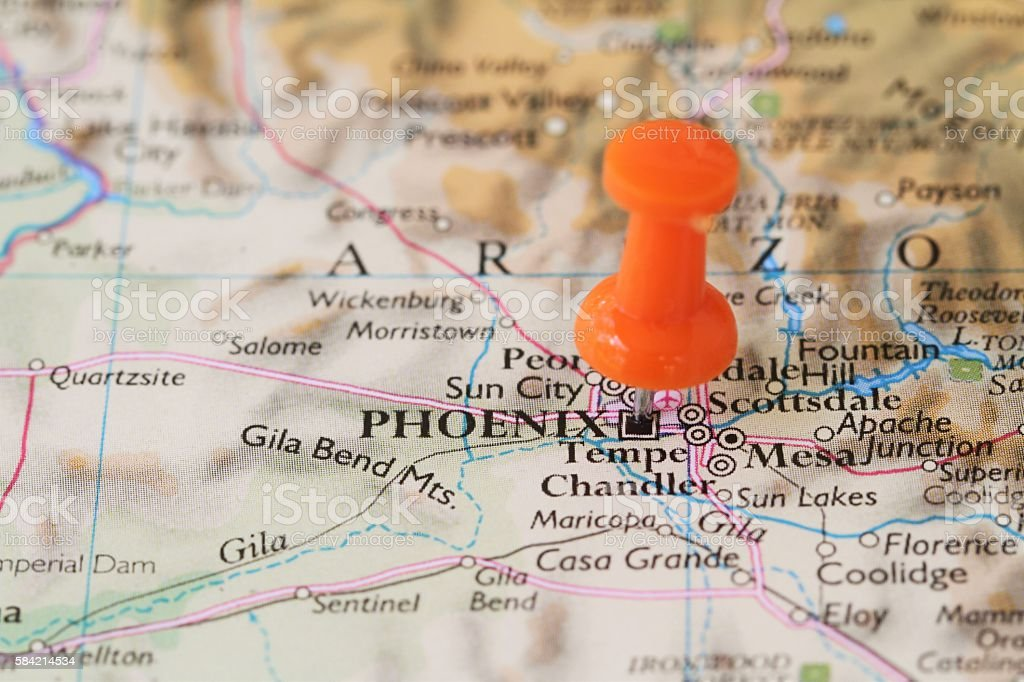 Push pin on map of  Phoenix, Arizona, USA stock photo