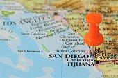 Push pin on map of  San Diego, California USA