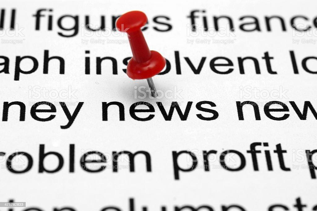 Push pin on news royalty-free stock photo