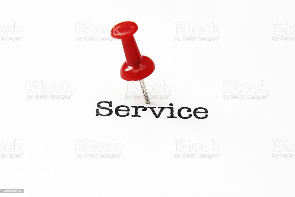 Push pin on service text royalty-free stock photo