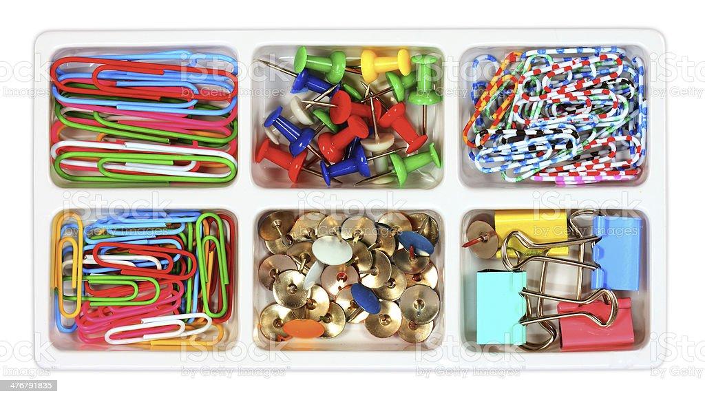 Push pin set. Thumbtack, fastener, clip. stock photo