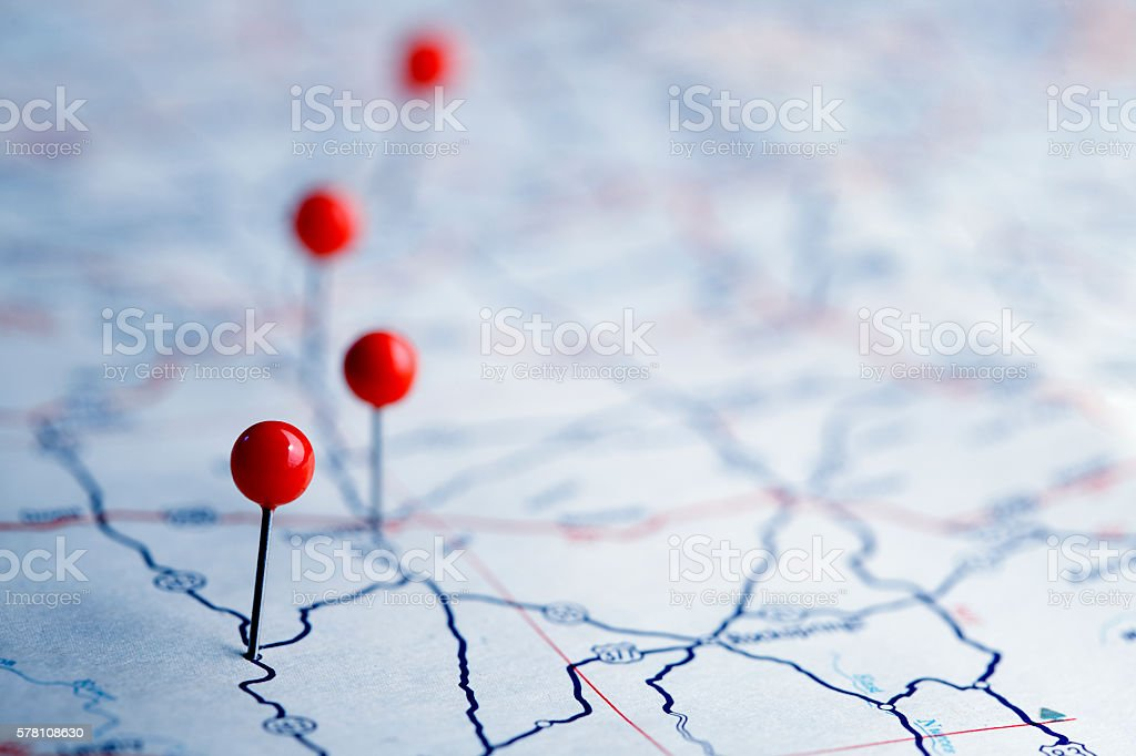 Push Pins On A Road Map stock photo