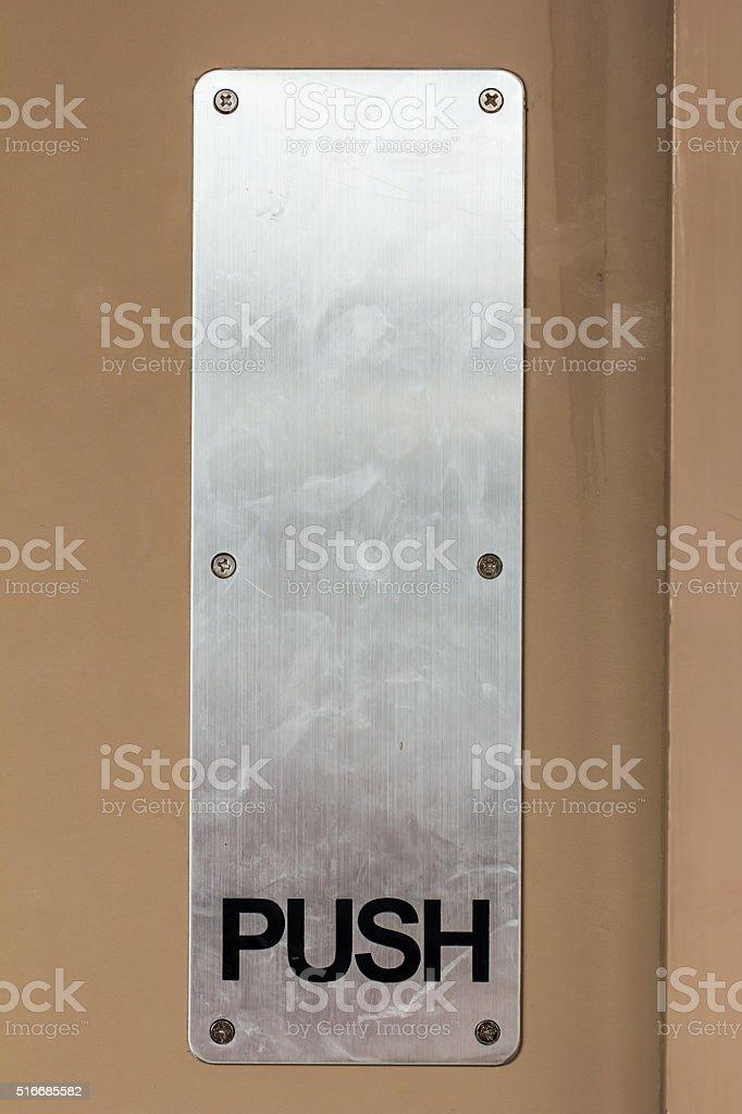 push sign on the door stock photo