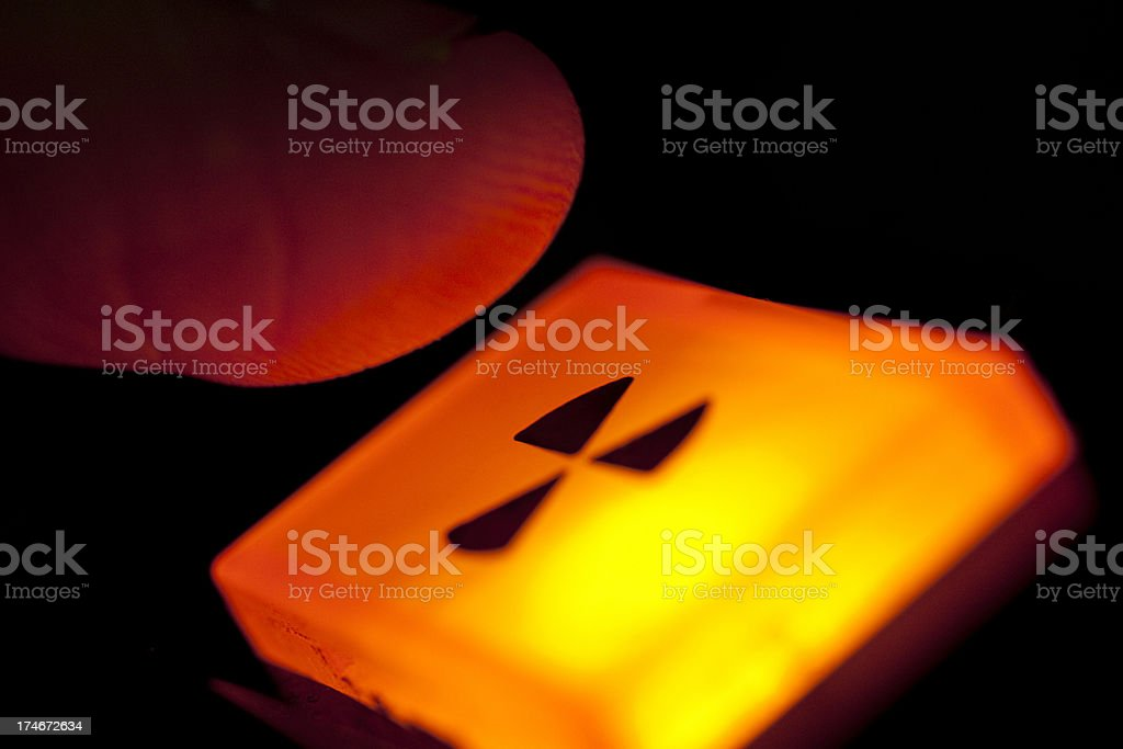 Push the button; radiation warning or nuclear war; last resort stock photo