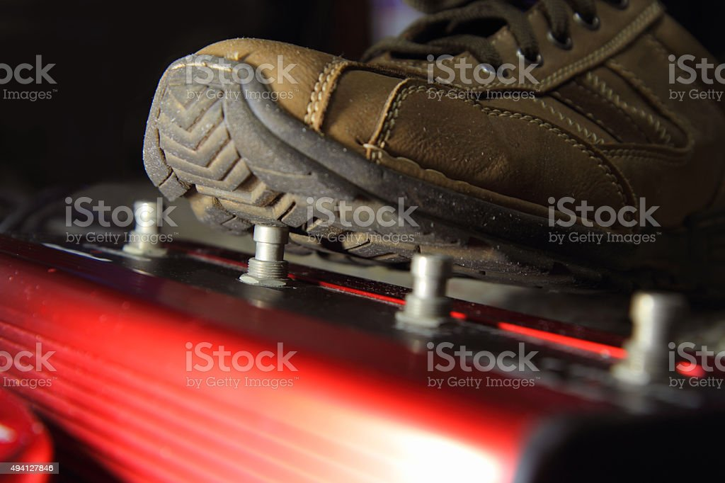 push the guitar effect pedal stock photo