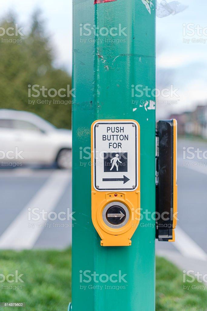 push to cross sidewalk button stock photo