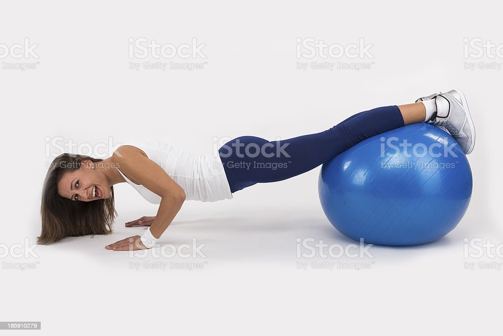 Push Up on an Exercise Ball stock photo