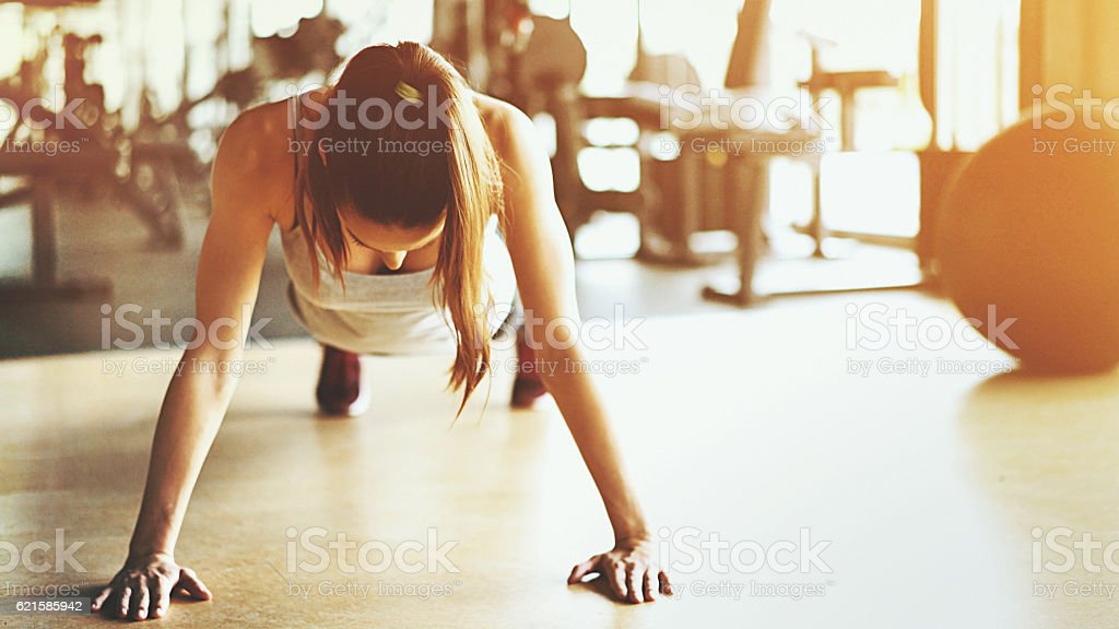 Push up round in a gym. stock photo