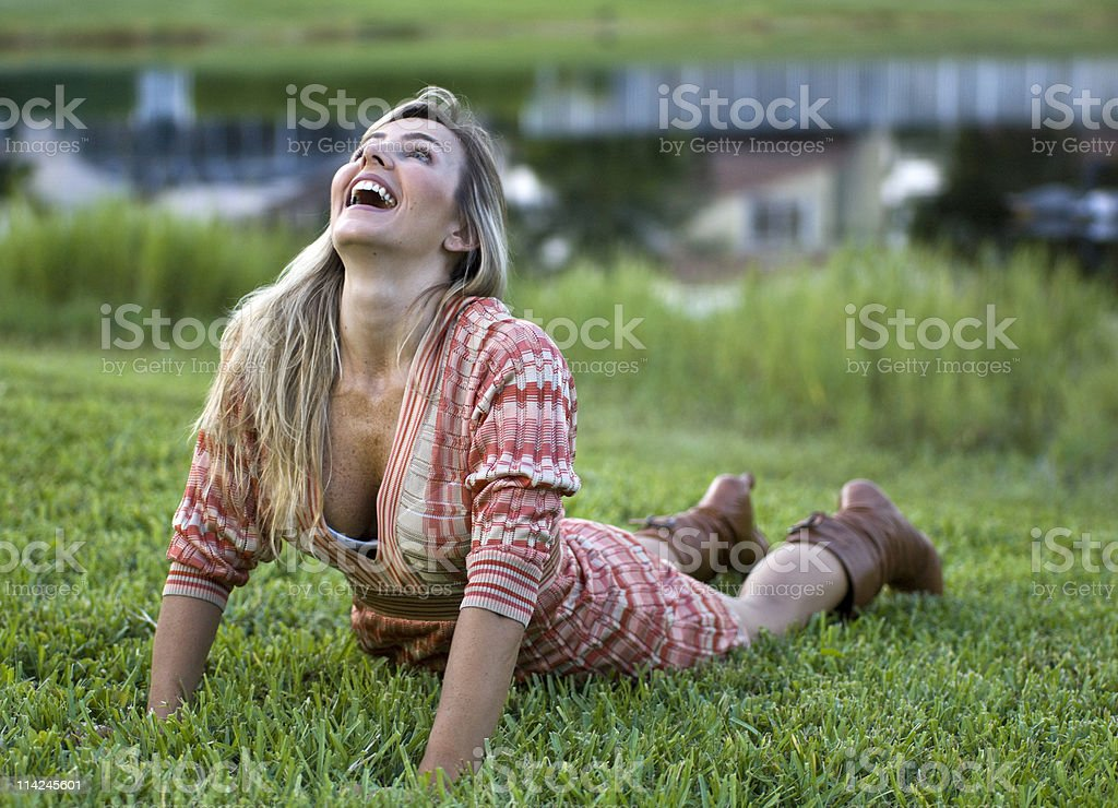 push ups in the grass stock photo