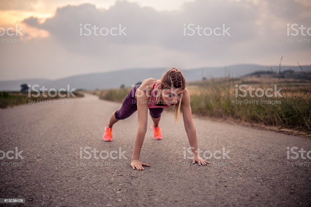 Push ups outdoor , I love this stock photo