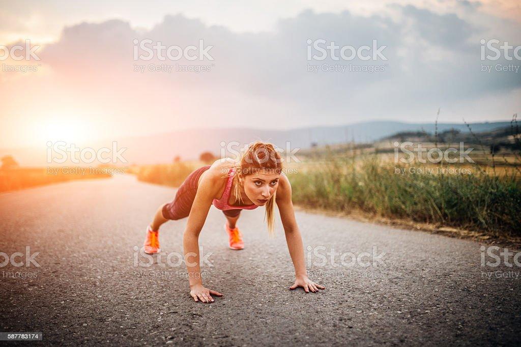 Push ups outdoor stock photo