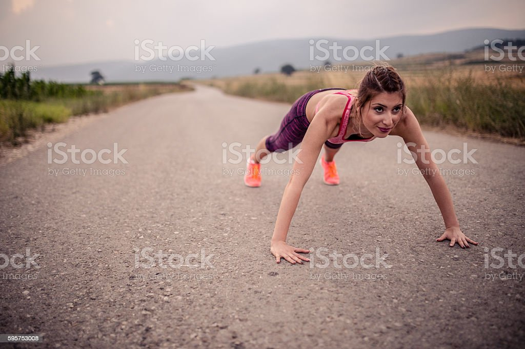 Push ups outdoor stock photo