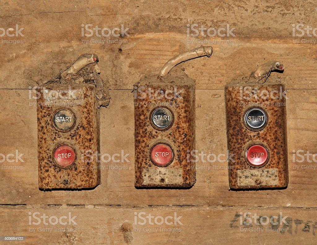 Pushbotton switches stock photo