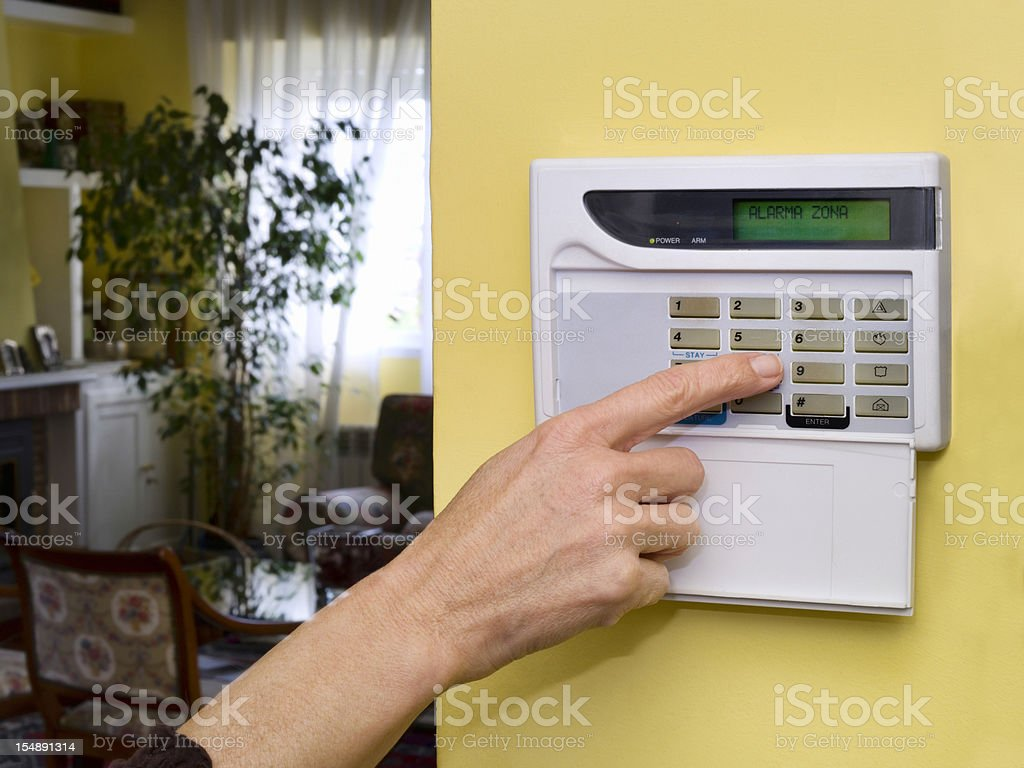 Pushing Alarm. Home security royalty-free stock photo