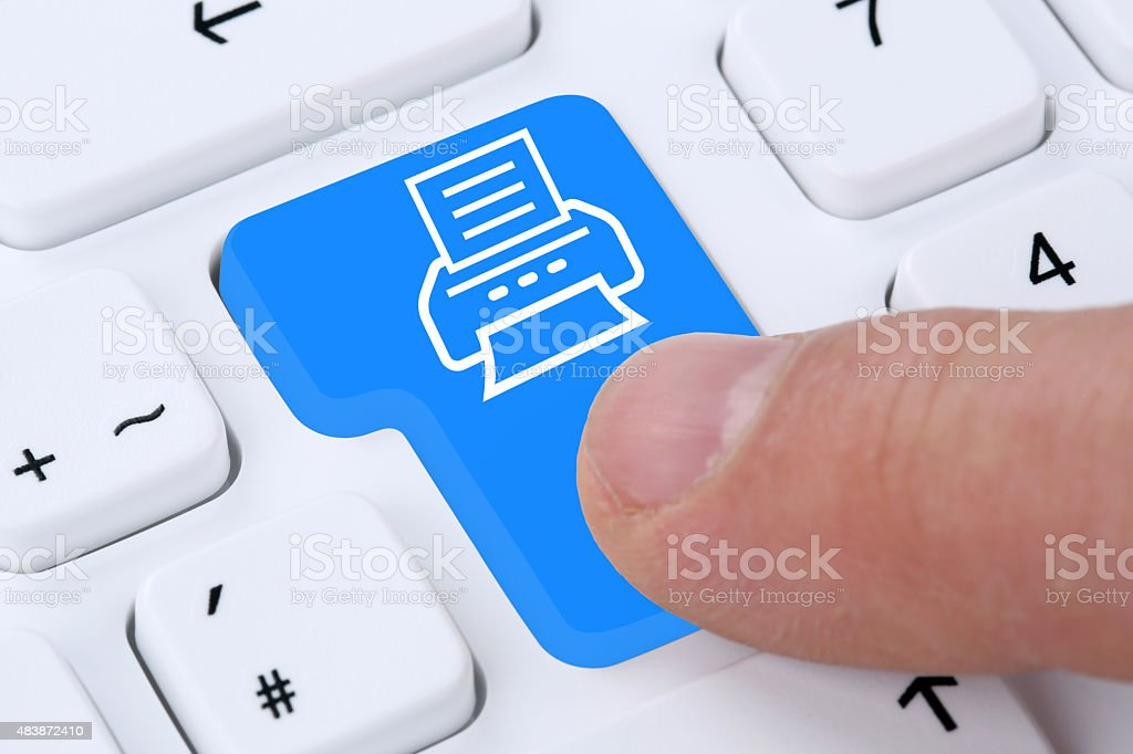 Pushing button on computer print document printing on printer stock photo