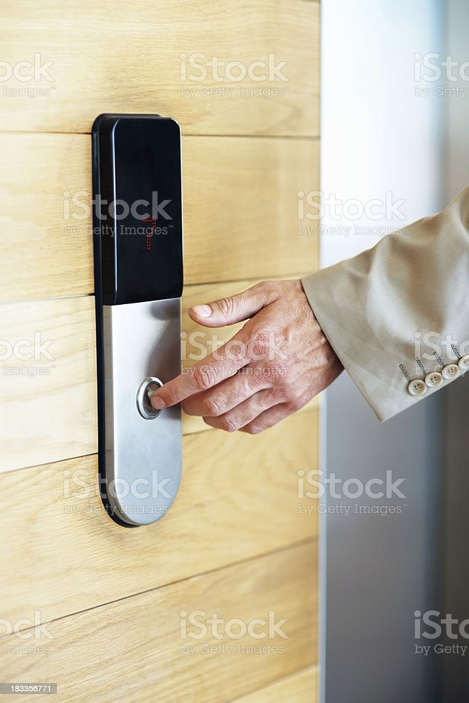 Pushing elevator button royalty-free stock photo