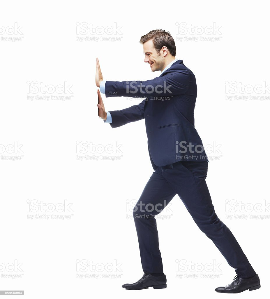 Pushing forward to achieve his business goals stock photo
