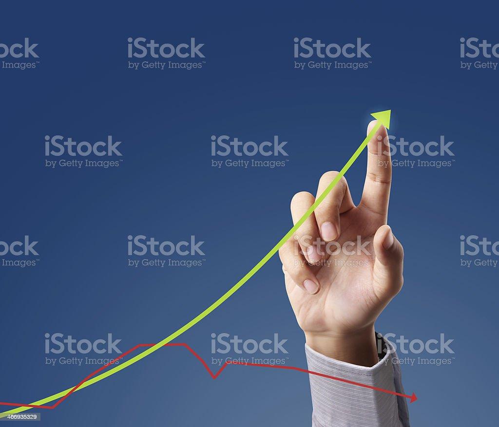 pushing graph royalty-free stock photo