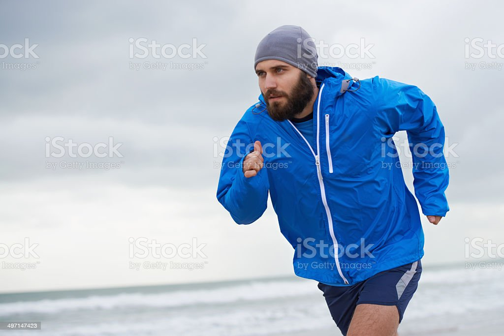 Pushing hard to get fit stock photo