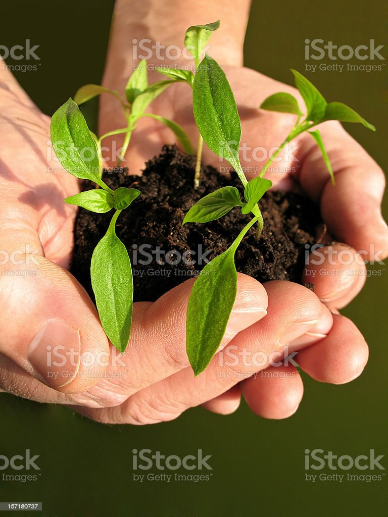 Pushing out of hands royalty-free stock photo