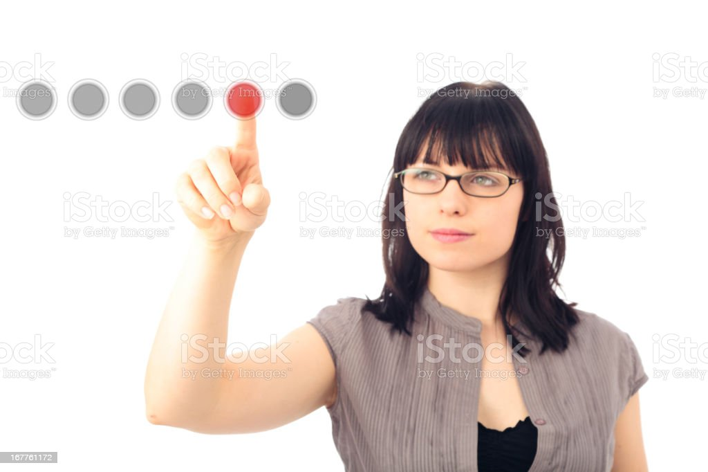 pushing the button stock photo