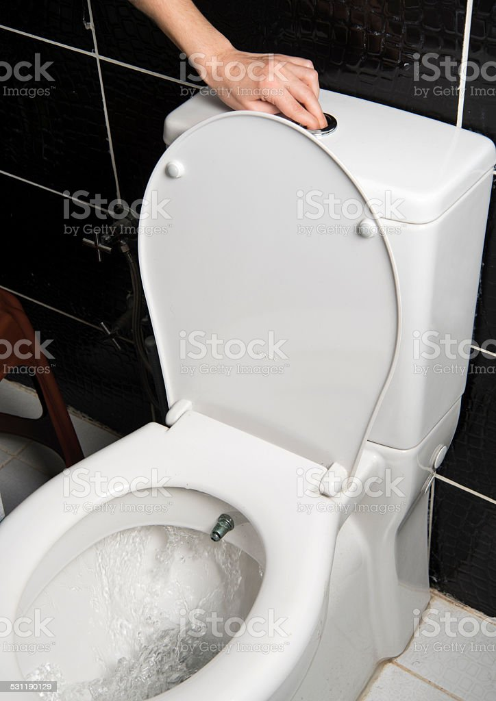 Pushing the flush button on a toilet stock photo