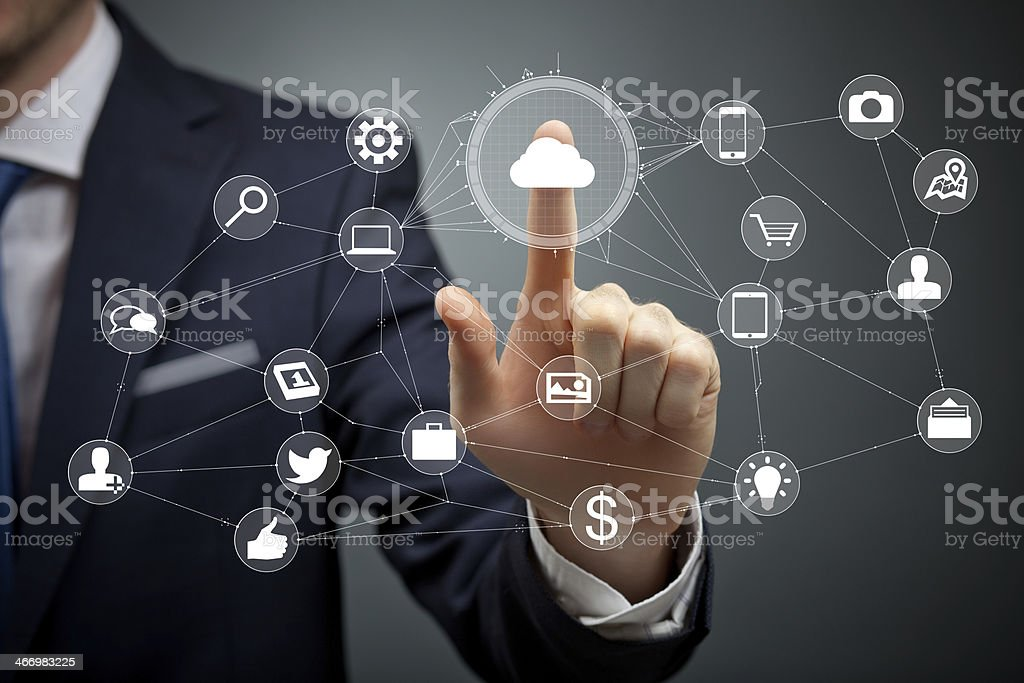 Pushing touch cloud button stock photo