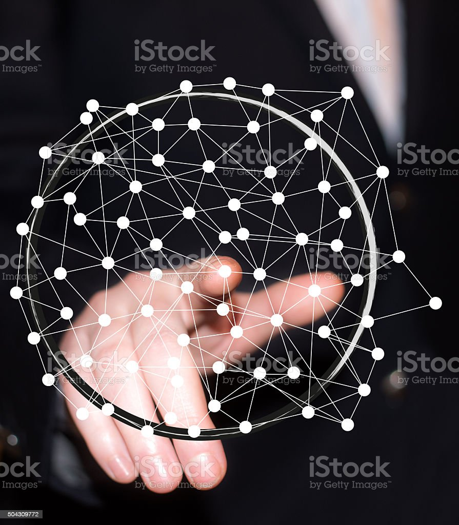 Pushing touch network button stock photo