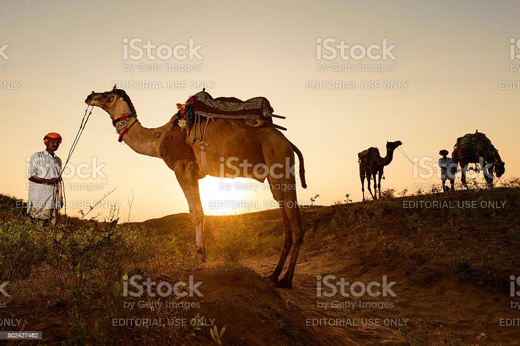 Pushkar Camel Trader. stock photo