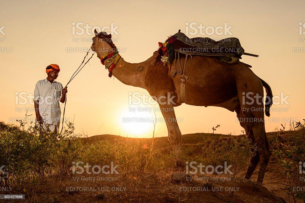 Pushkar Camel Trader stock photo