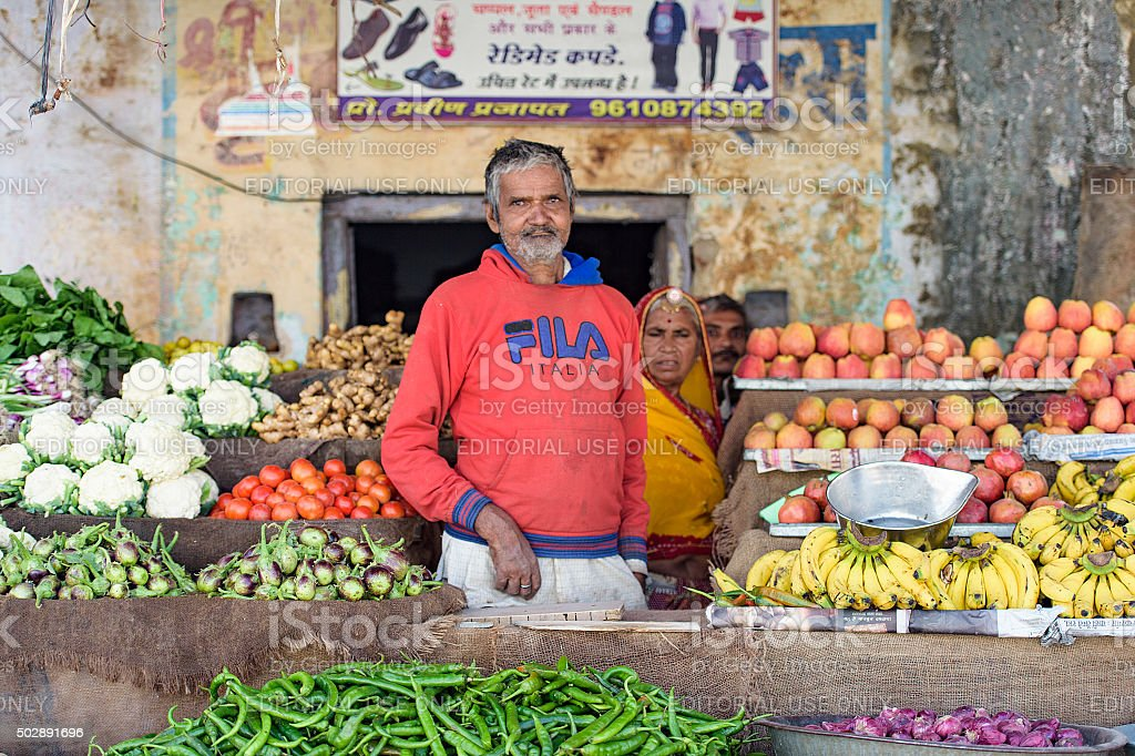 Pushkar street vendor. stock photo