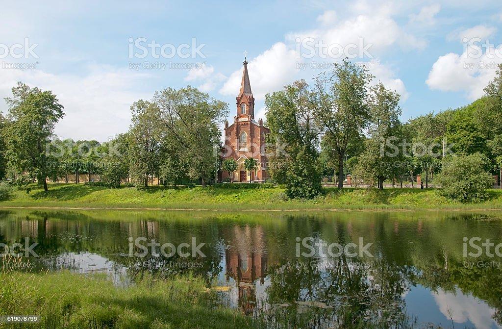 Pushkin. Russia. Lutheran Church of Resurrection of Jesus stock photo