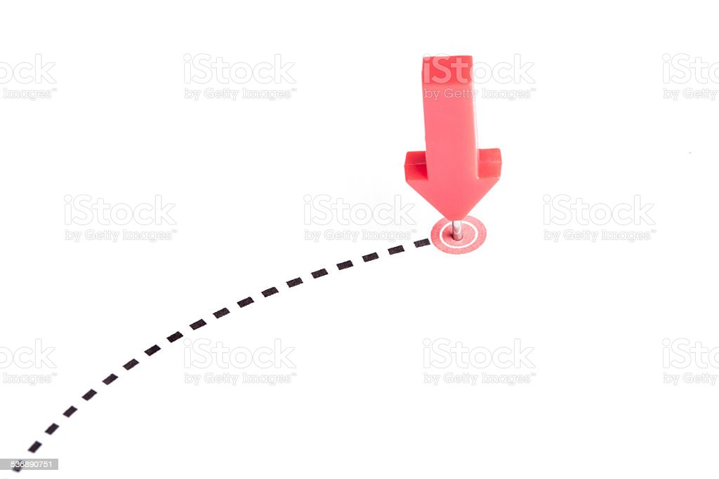 Pushpin arrow stock photo