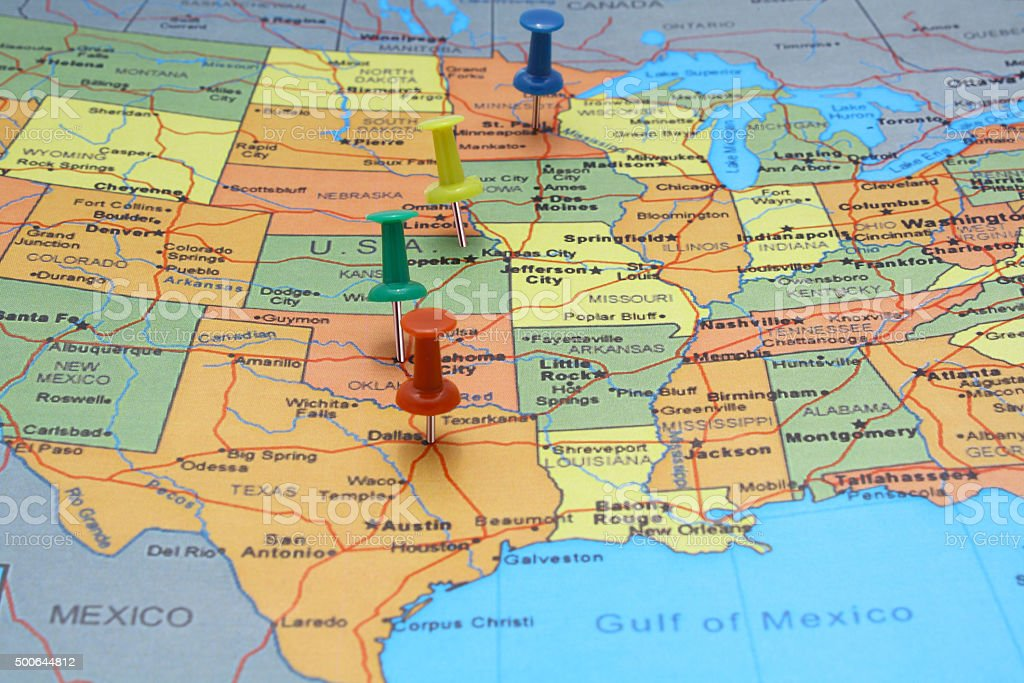 Pushpin line on USA map stock photo