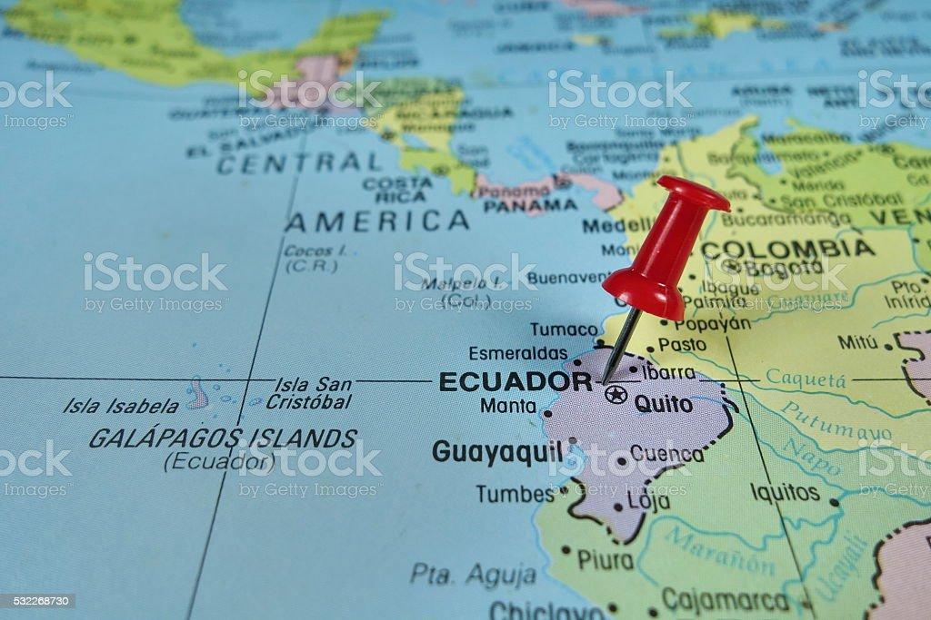 Pushpin marking on Ecuador map stock photo