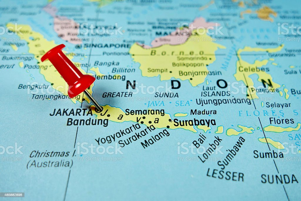 Pushpin marking on Jakarta, Indonesia stock photo