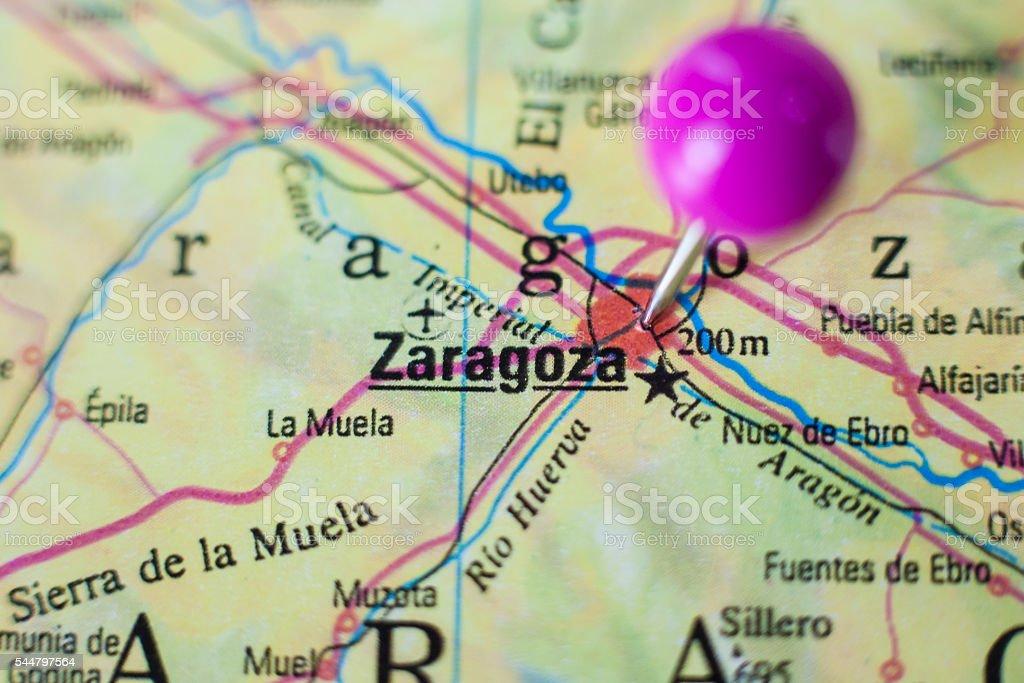 Pushpin marking on Saragossa, Spain stock photo